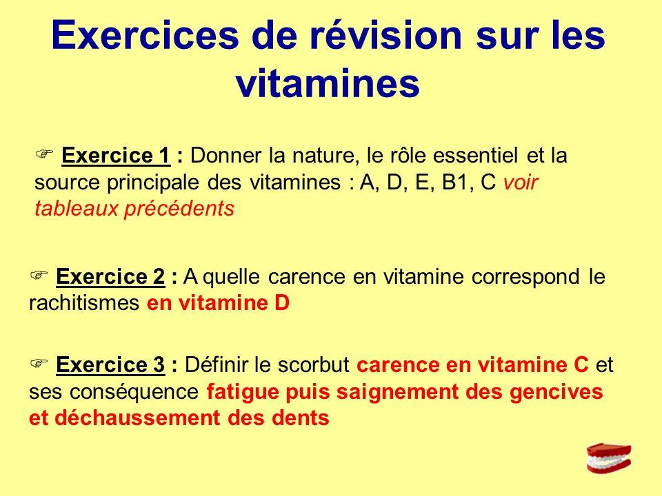 Exercice 1 : Donner la nature, le rôle essentiel et la source principale des vitamines : A, D, E, B1, C voir tableaux précédents Exercices de révision