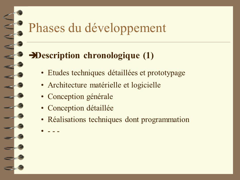 Phases du développement è Description chronologique (1) Etudes techniques détaillées et prototypage Architecture matérielle et logicielle Conception g