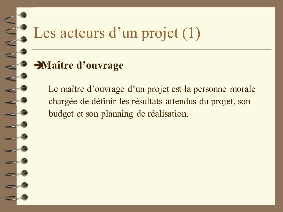 Les acteurs dun projet (1) è Maître douvrage Le maître douvrage dun projet est la personne morale chargée de définir les résultats attendus du projet,
