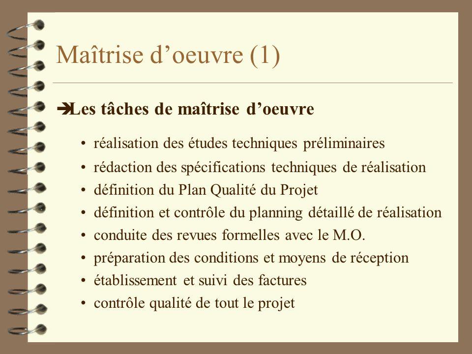 Maîtrise doeuvre (1) è Les tâches de maîtrise doeuvre réalisation des études techniques préliminaires rédaction des spécifications techniques de réali