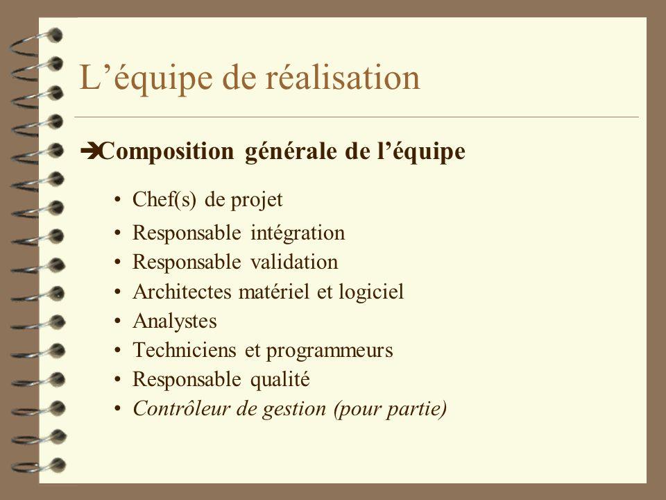 Léquipe de réalisation è Composition générale de léquipe Chef(s) de projet Responsable intégration Responsable validation Architectes matériel et logi