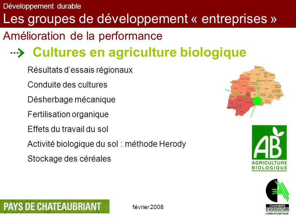 février 200811 Développement durable Les groupes de développement « entreprises » Amélioration de la performance Cultures en agriculture biologique Ré