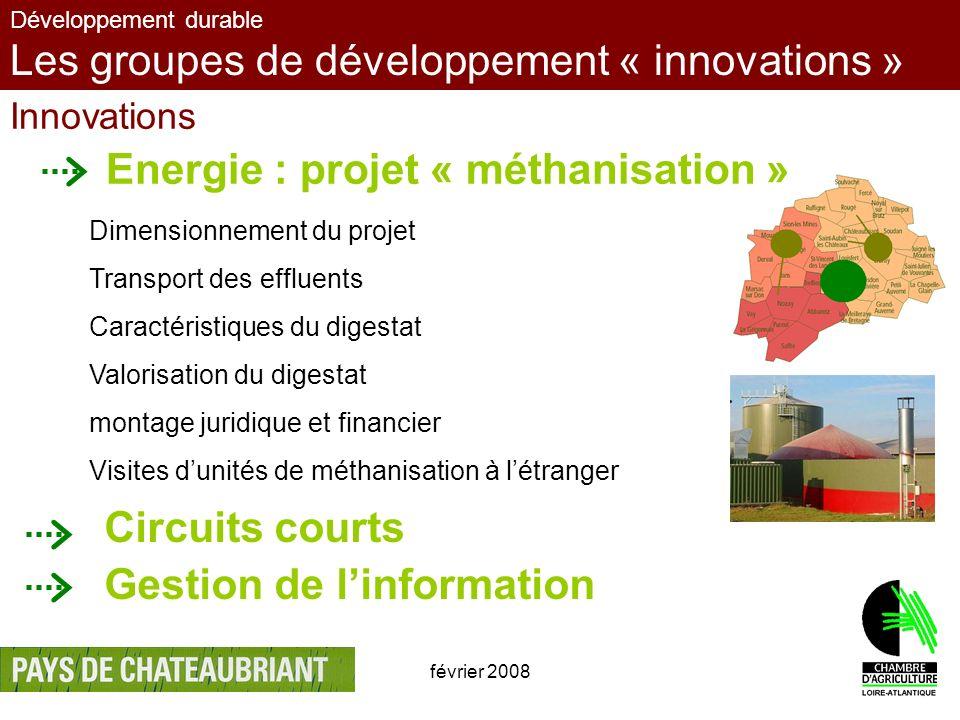 février 200812 Développement durable Les groupes de développement « innovations » Innovations Energie : projet « méthanisation » Dimensionnement du pr