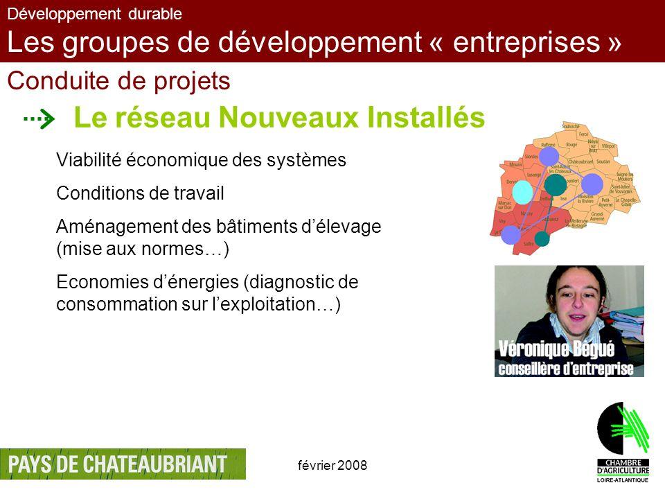 février 20086 Développement durable Les groupes de développement « entreprises » Conduite de projets Le réseau Nouveaux Installés Viabilité économique
