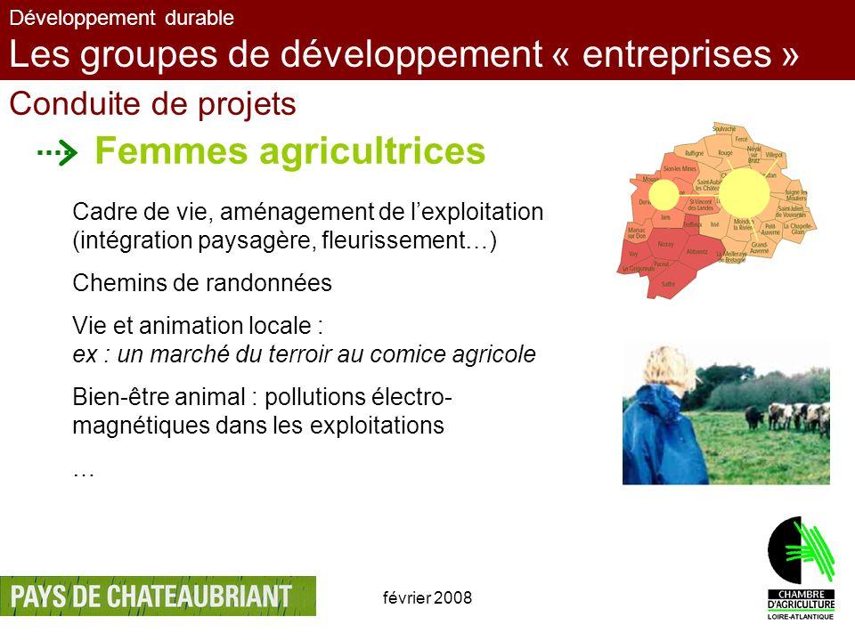 février 20087 Développement durable Les groupes de développement « entreprises » Conduite de projets Femmes agricultrices Cadre de vie, aménagement de