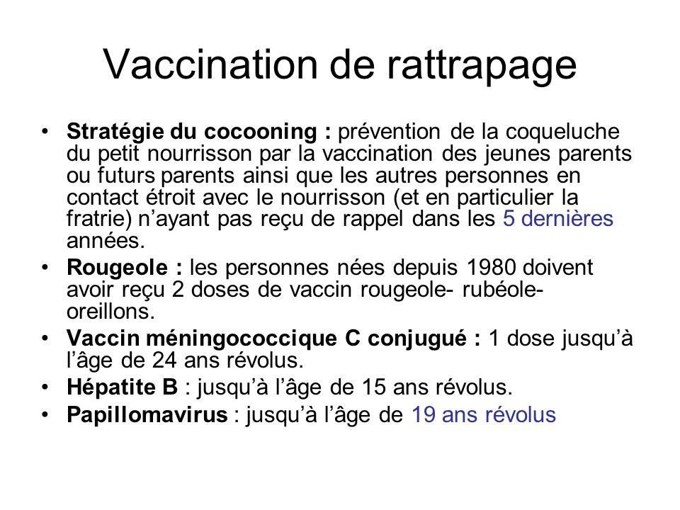 Vaccination de rattrapage Stratégie du cocooning : prévention de la coqueluche du petit nourrisson par la vaccination des jeunes parents ou futurs par