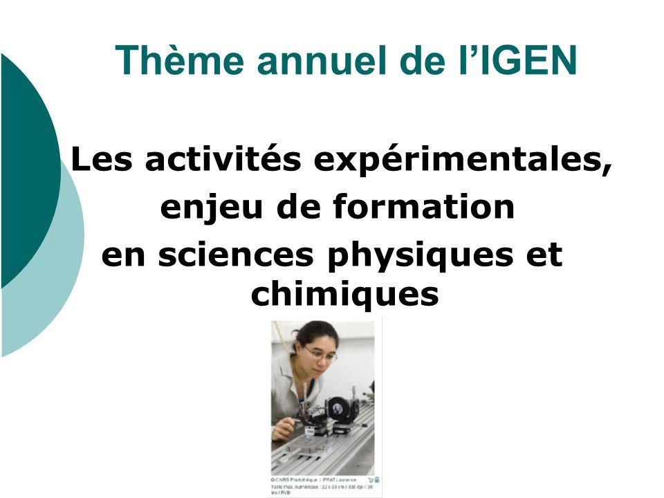 Thème annuel de lIGEN Les activités expérimentales, enjeu de formation en sciences physiques et chimiques