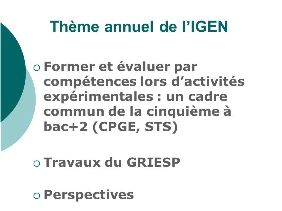 Thème annuel de lIGEN Former et évaluer par compétences lors dactivités expérimentales : un cadre commun de la cinquième à bac+2 (CPGE, STS) Travaux d