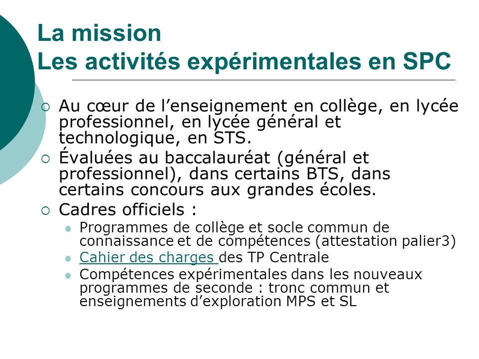 La mission Les activités expérimentales en SPC Au cœur de lenseignement en collège, en lycée professionnel, en lycée général et technologique, en STS.