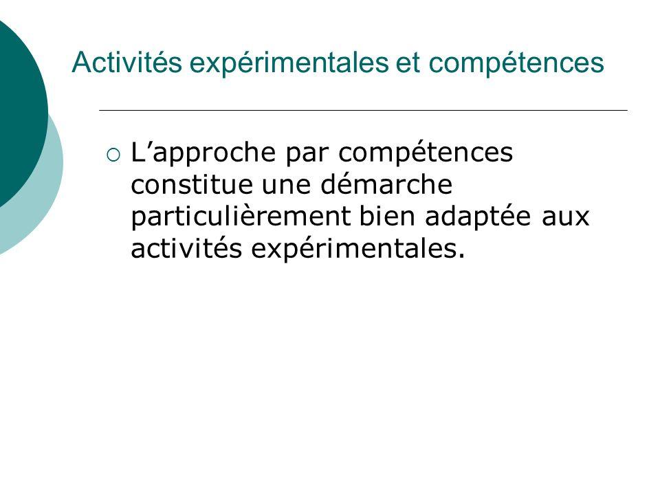 Activités expérimentales et compétences Lapproche par compétences constitue une démarche particulièrement bien adaptée aux activités expérimentales.