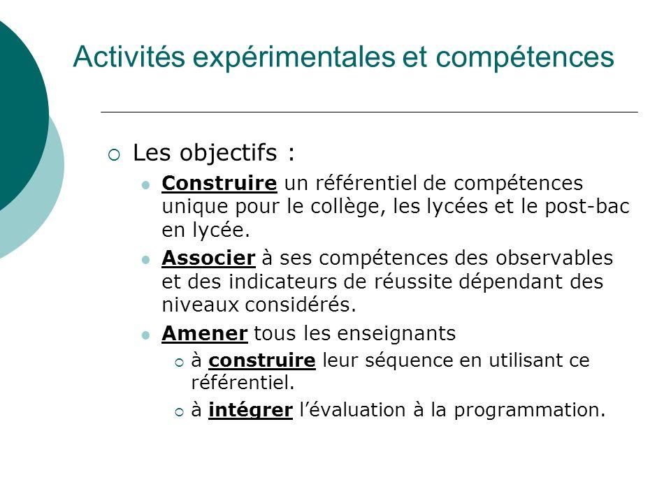 Activités expérimentales et compétences Les objectifs : Construire un référentiel de compétences unique pour le collège, les lycées et le post-bac en