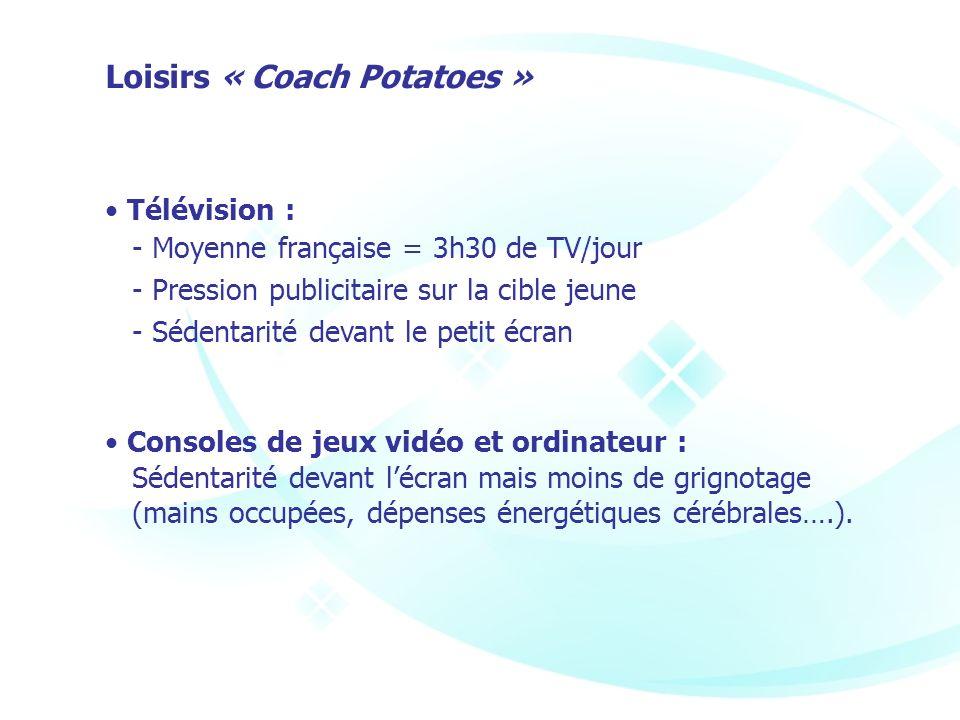 Télévision : - Moyenne française = 3h30 de TV/jour - Pression publicitaire sur la cible jeune - Sédentarité devant le petit écran Consoles de jeux vid