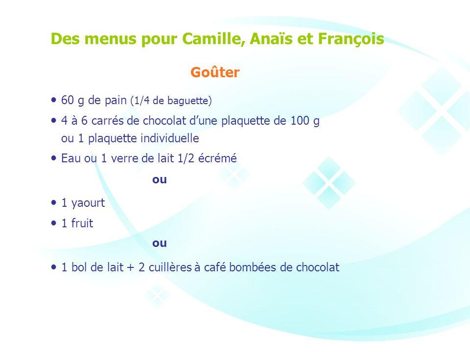 Des menus pour Camille, Anaïs et François Goûter 60 g de pain (1/4 de baguette) 4 à 6 carrés de chocolat dune plaquette de 100 g ou 1 plaquette indivi