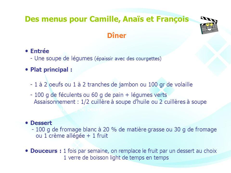 Entrée - Une soupe de légumes (épaissir avec des courgettes) Plat principal : - 1 à 2 oeufs ou 1 à 2 tranches de jambon ou 100 gr de volaille - 100 g