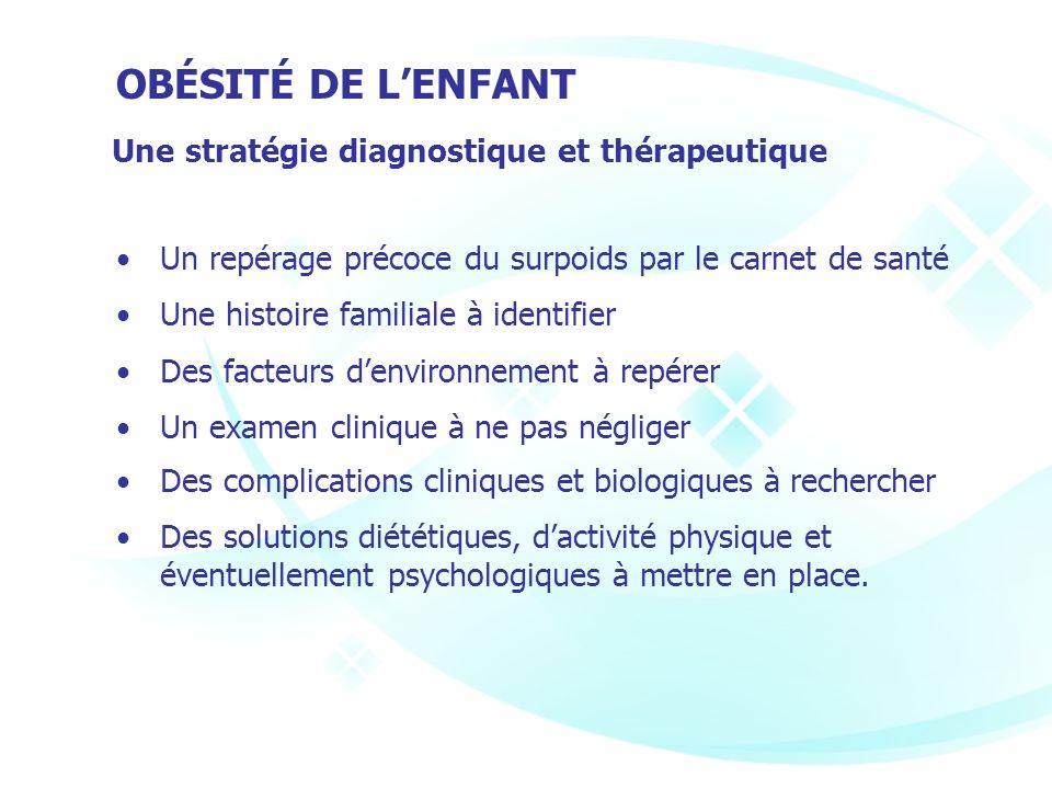 Une stratégie diagnostique et thérapeutique Un repérage précoce du surpoids par le carnet de santé Une histoire familiale à identifier Des facteurs de