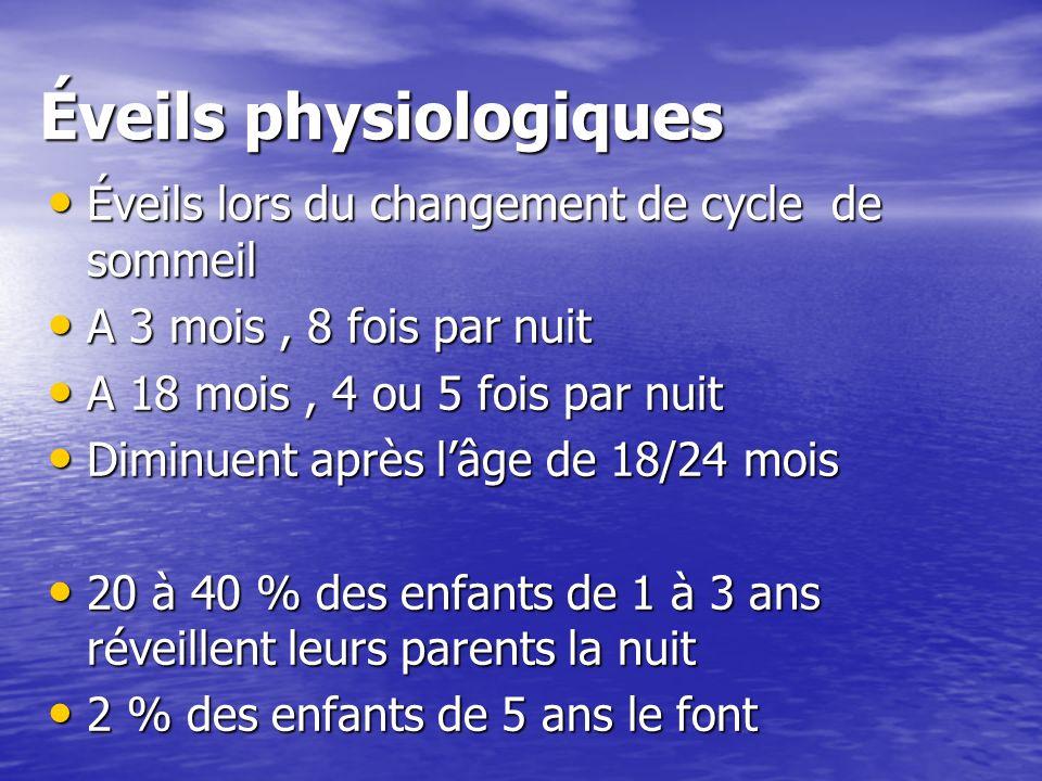 Éveils physiologiques Éveils lors du changement de cycle de sommeil Éveils lors du changement de cycle de sommeil A 3 mois, 8 fois par nuit A 3 mois,