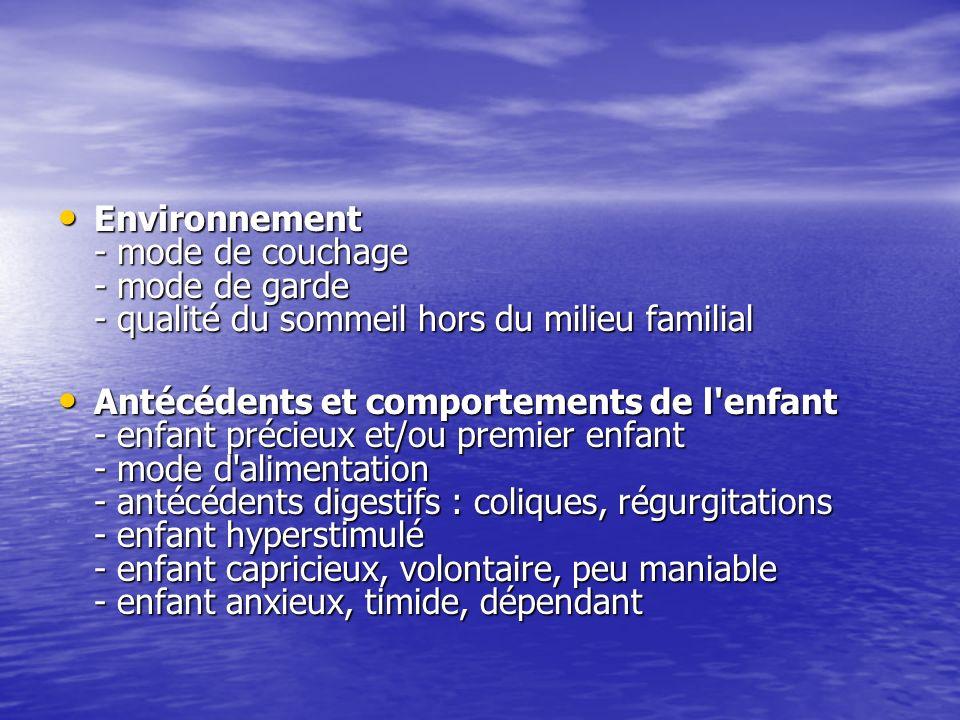 Environnement - mode de couchage - mode de garde - qualité du sommeil hors du milieu familial Environnement - mode de couchage - mode de garde - quali