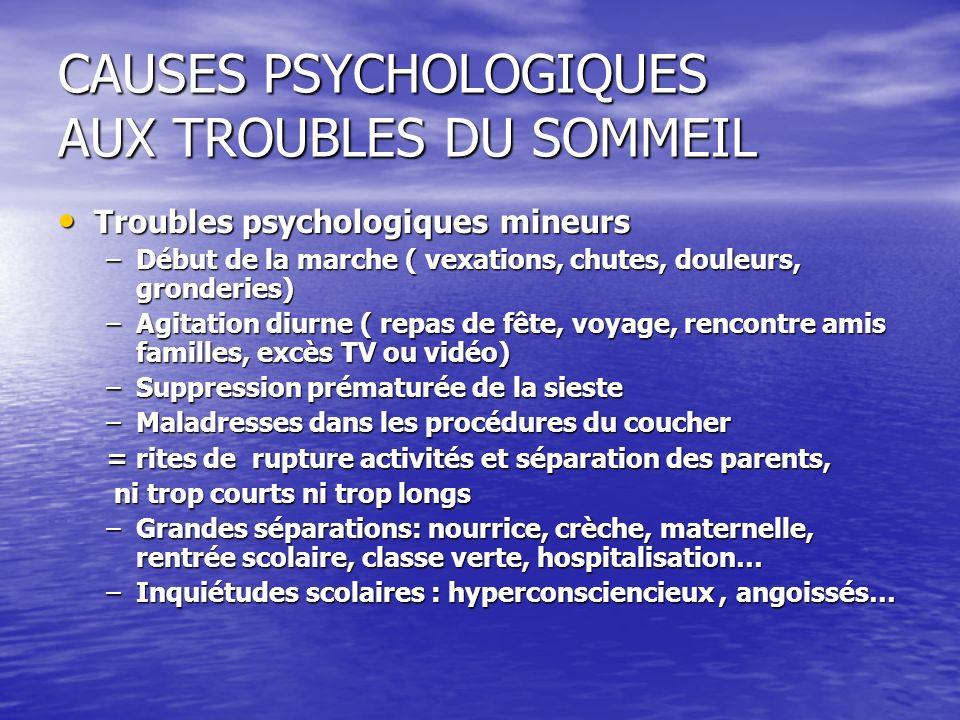 CAUSES PSYCHOLOGIQUES AUX TROUBLES DU SOMMEIL Troubles psychologiques mineurs Troubles psychologiques mineurs –Début de la marche ( vexations, chutes,
