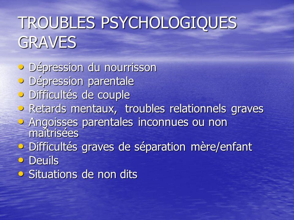 TROUBLES PSYCHOLOGIQUES GRAVES Dépression du nourrisson Dépression du nourrisson Dépression parentale Dépression parentale Difficultés de couple Diffi