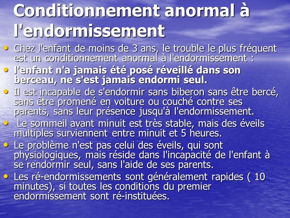 Conditionnement anormal à l'endormissement Chez l'enfant de moins de 3 ans, le trouble le plus fréquent est un conditionnement anormal à l'endormissem