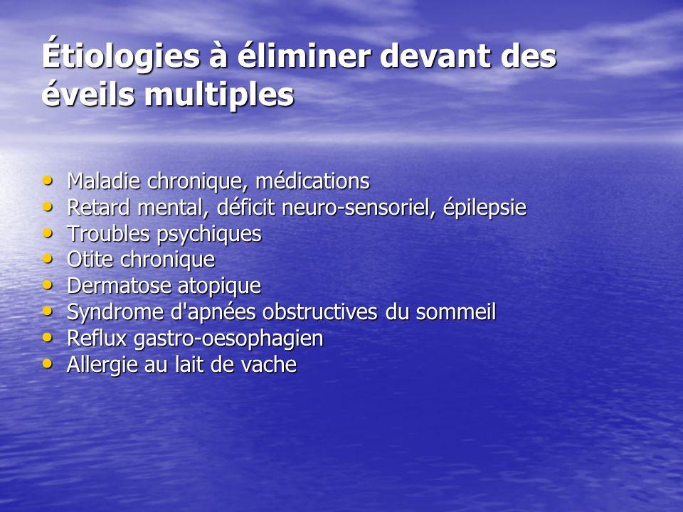 Étiologies à éliminer devant des éveils multiples Maladie chronique, médications Maladie chronique, médications Retard mental, déficit neuro-sensoriel