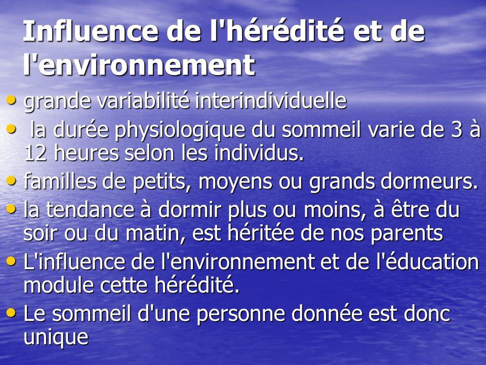 Influence de l'hérédité et de l'environnement grande variabilité interindividuelle grande variabilité interindividuelle la durée physiologique du somm