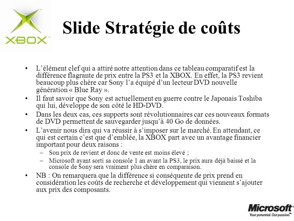 Slide Stratégie de coûts Lélément clef qui a attiré notre attention dans ce tableau comparatif est la différence flagrante de prix entre la PS3 et la