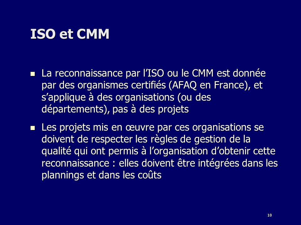 10 ISO et CMM La reconnaissance par lISO ou le CMM est donnée par des organismes certifiés (AFAQ en France), et sapplique à des organisations (ou des