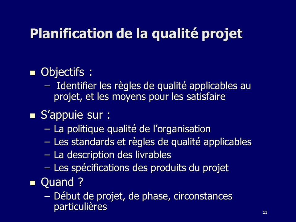 11 Planification de la qualité projet Objectifs : Objectifs : – Identifier les règles de qualité applicables au projet, et les moyens pour les satisfa