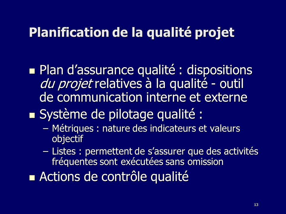 13 Planification de la qualité projet Plan dassurance qualité : dispositions du projet relatives à la qualité - outil de communication interne et exte