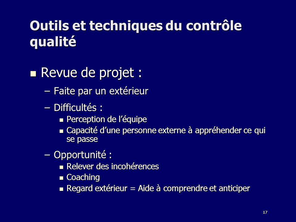 17 Outils et techniques du contrôle qualité Revue de projet : Revue de projet : –Faite par un extérieur –Difficultés : Perception de léquipe Perceptio