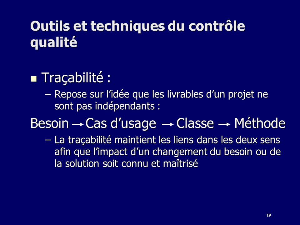 19 Outils et techniques du contrôle qualité Traçabilité : Traçabilité : –Repose sur lidée que les livrables dun projet ne sont pas indépendants : Beso
