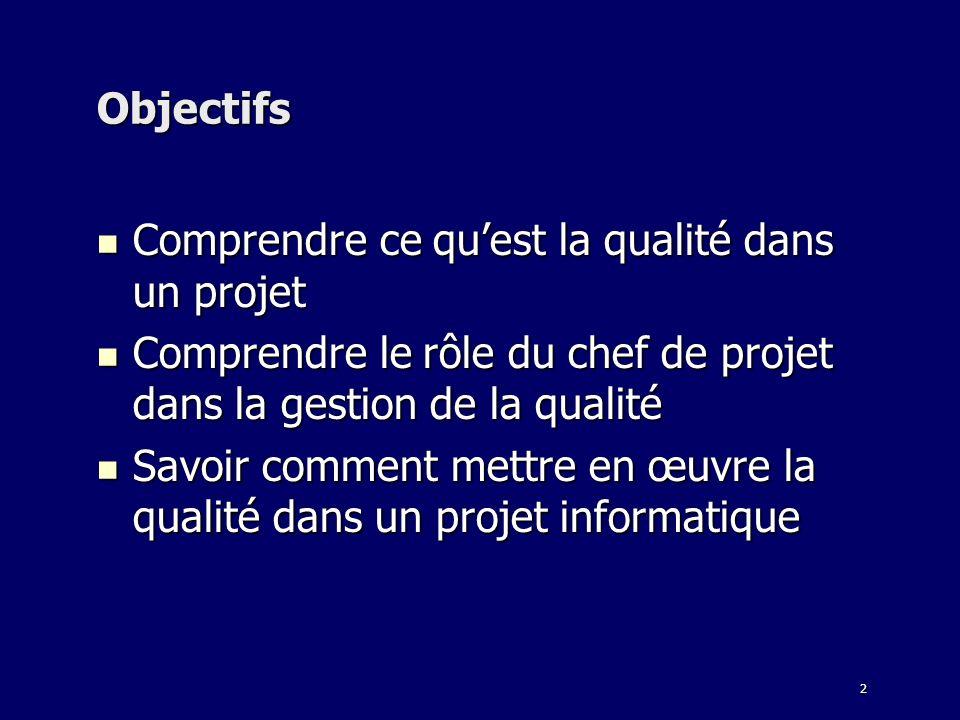 2 Objectifs Comprendre ce quest la qualité dans un projet Comprendre ce quest la qualité dans un projet Comprendre le rôle du chef de projet dans la g