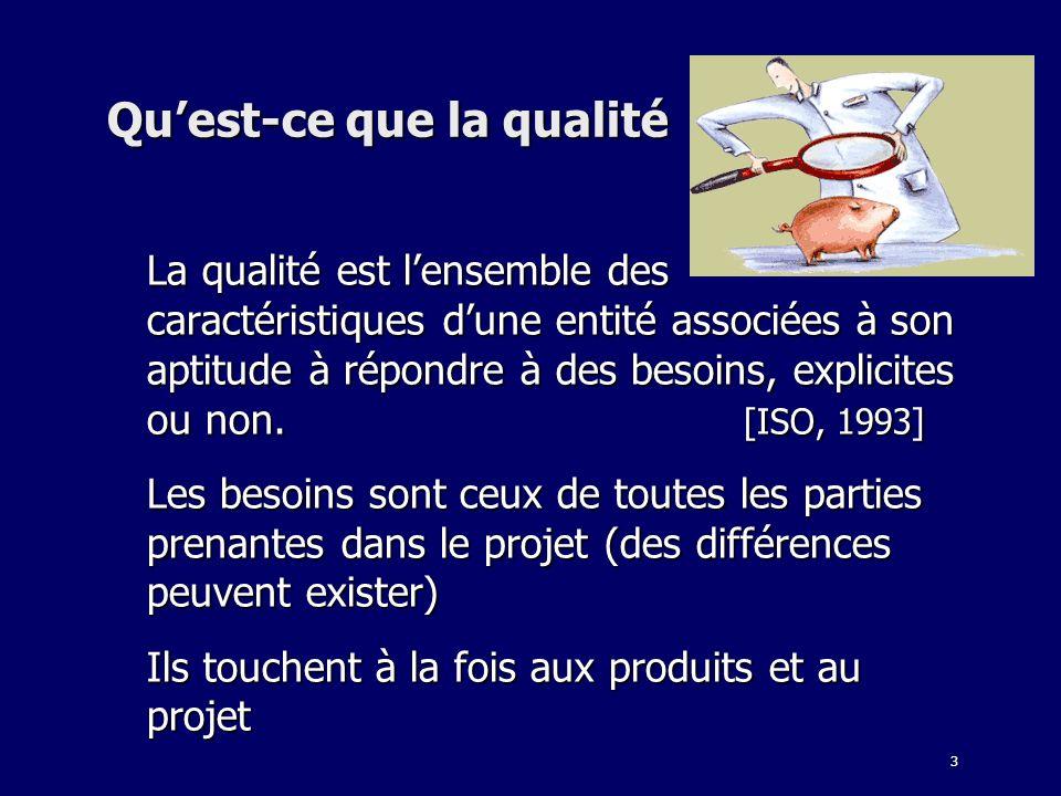 3 Quest-ce que la qualité La qualité est lensemble des caractéristiques dune entité associées à son aptitude à répondre à des besoins, explicites ou n