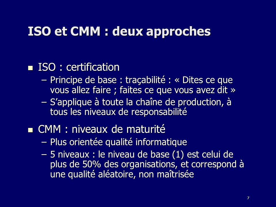 7 ISO et CMM : deux approches ISO : certification ISO : certification –Principe de base : traçabilité : « Dites ce que vous allez faire ; faites ce qu