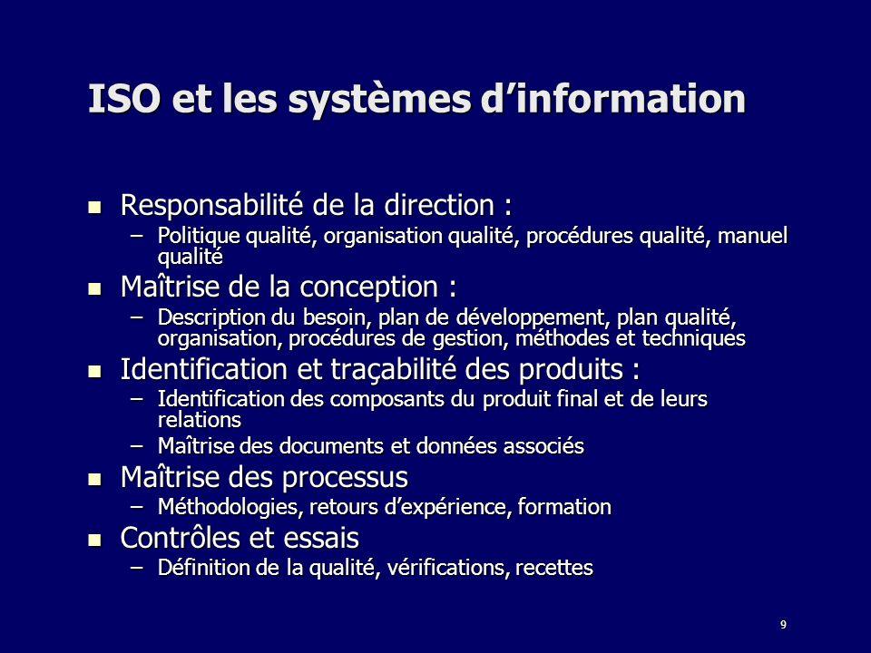 9 ISO et les systèmes dinformation Responsabilité de la direction : Responsabilité de la direction : –Politique qualité, organisation qualité, procédu