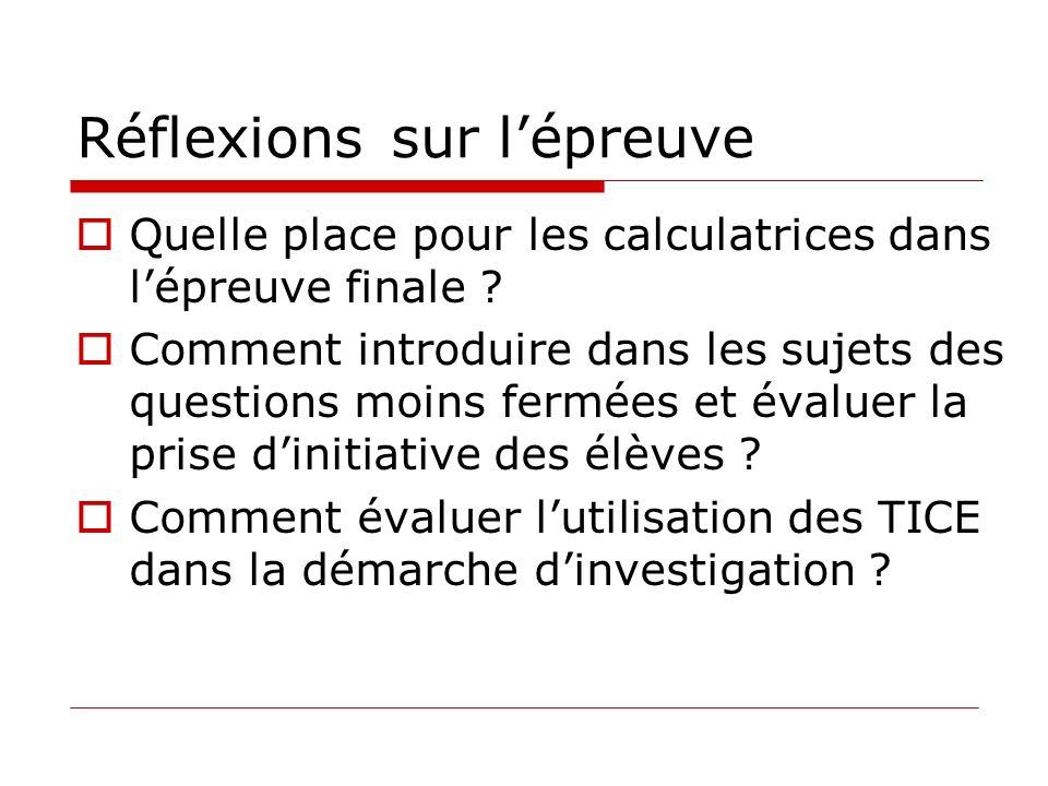 Réflexionssur lépreuve Quelle place pour les calculatrices dans lépreuve finale ? Comment introduire dans les sujets des questions moins fermées et év