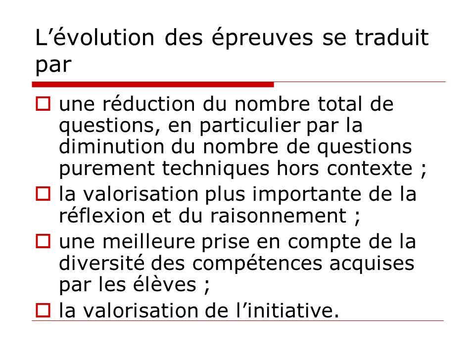 Lévolution des épreuves se traduit par une réduction du nombre total de questions, en particulier par la diminution du nombre de questions purement te