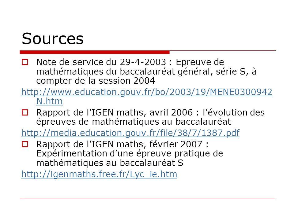 Sources Note de service du 29-4-2003 : Epreuve de mathématiques du baccalauréat général, série S, à compter de la session 2004 http://www.education.go