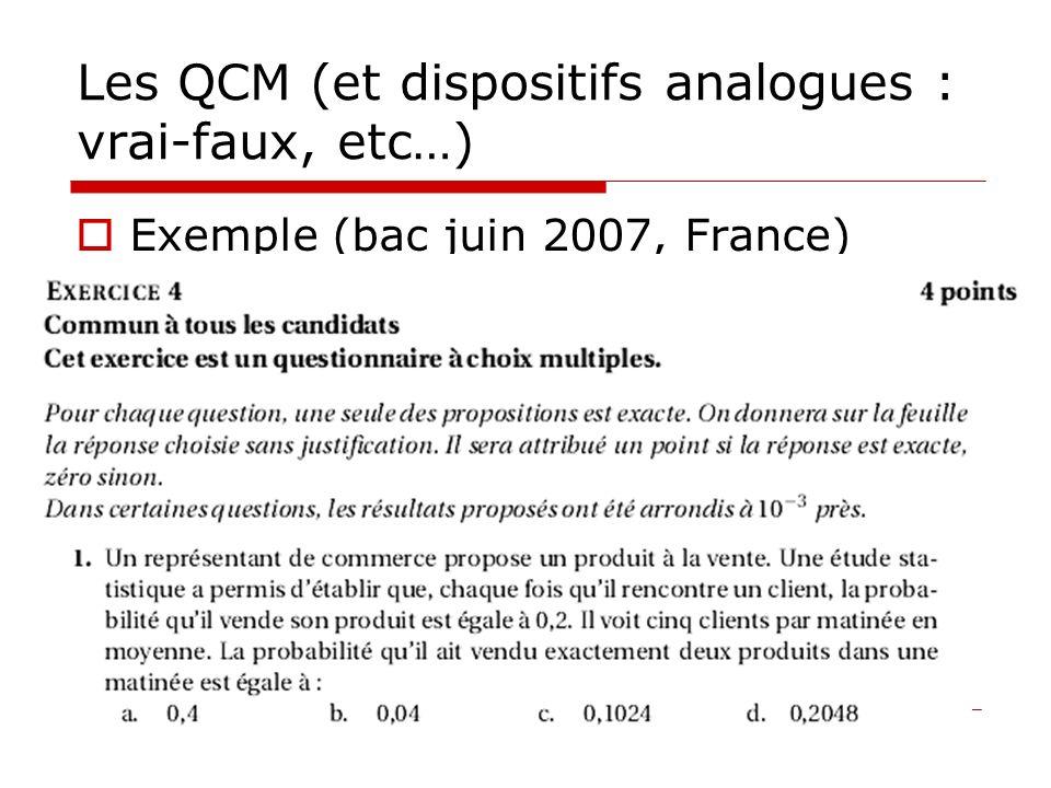 Les QCM (et dispositifs analogues : vrai-faux, etc…) But : poser des questions de type « ouvert » puisque la réponse de lélève est réduite à un choix (pour lequel lélève est obligé de sengager, de prendre un risque)