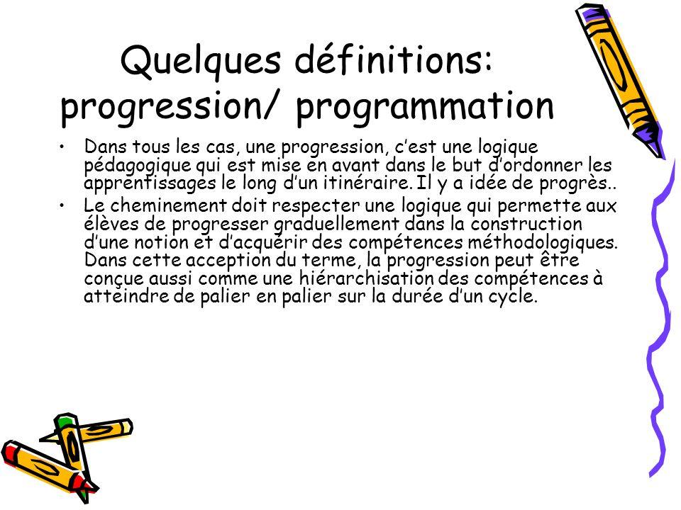 Quelques définitions: progression/ programmation Dans tous les cas, une progression, cest une logique pédagogique qui est mise en avant dans le but do