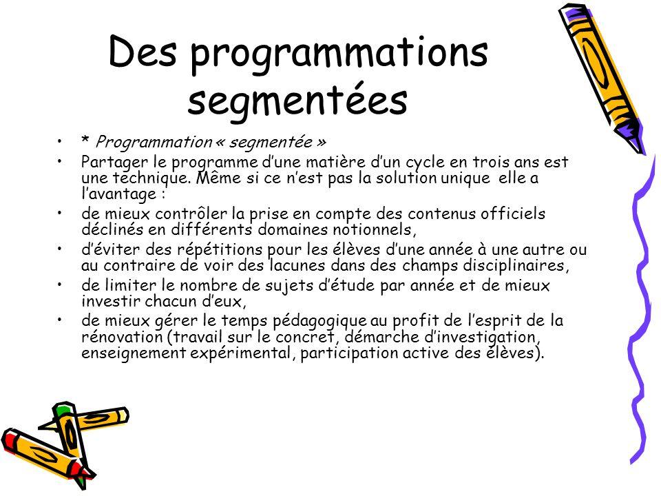 Des programmations segmentées * Programmation « segmentée » Partager le programme dune matière dun cycle en trois ans est une technique. Même si ce ne