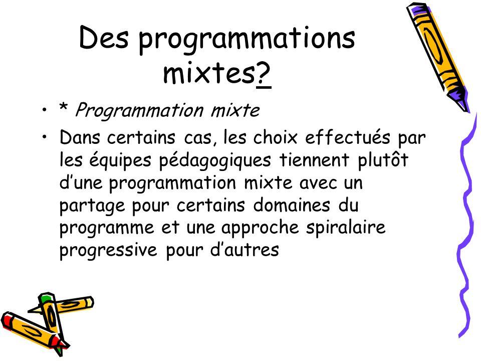 Des programmations mixtes? * Programmation mixte Dans certains cas, les choix effectués par les équipes pédagogiques tiennent plutôt dune programmatio