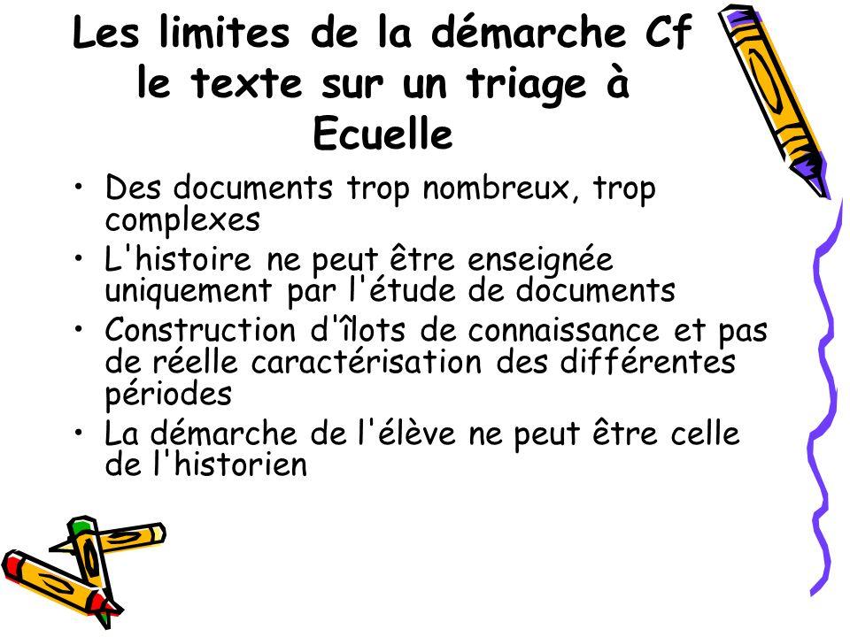 Les limites de la démarche Cf le texte sur un triage à Ecuelle Des documents trop nombreux, trop complexes L'histoire ne peut être enseignée uniquemen