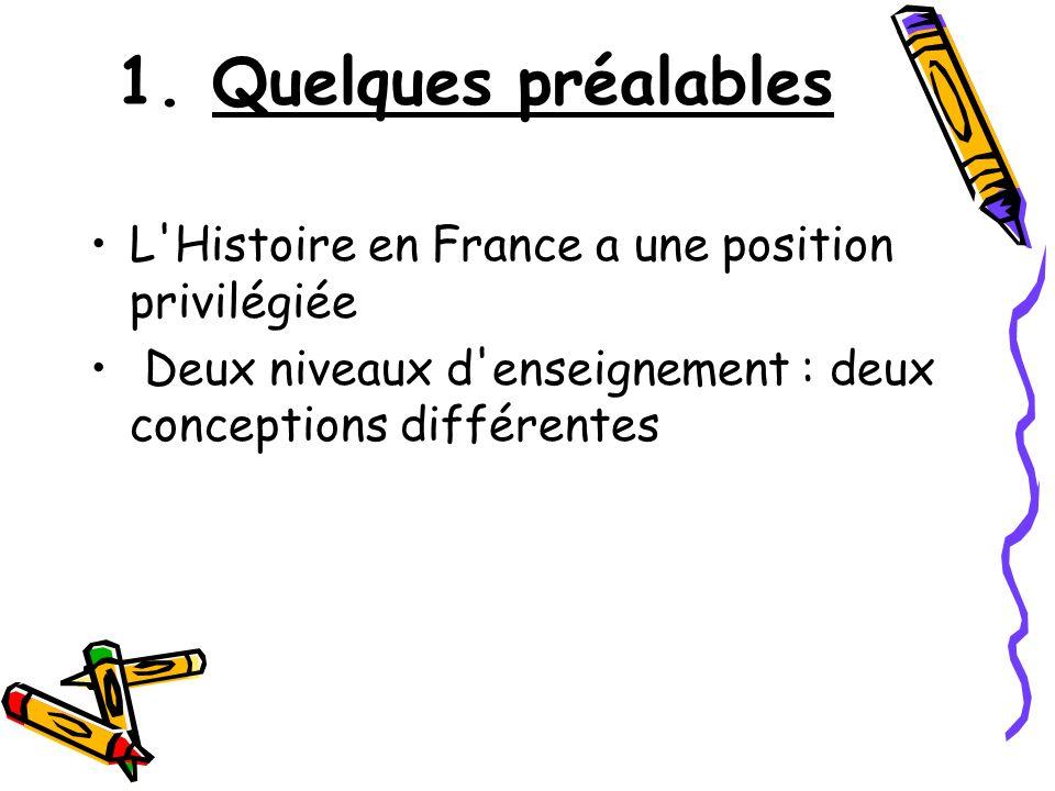 1. Quelques préalables L'Histoire en France a une position privilégiée Deux niveaux d'enseignement : deux conceptions différentes