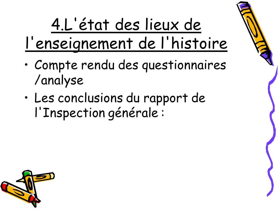 4.L'état des lieux de l'enseignement de l'histoire Compte rendu des questionnaires /analyse Les conclusions du rapport de l'Inspection générale :