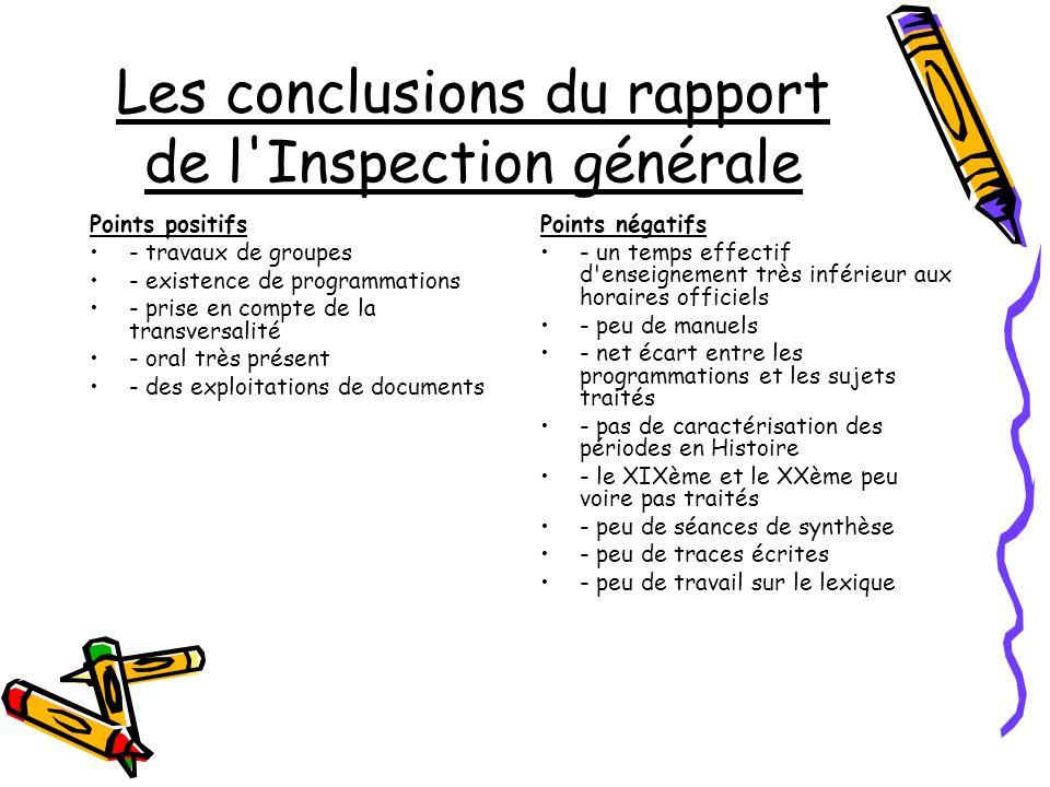 Les conclusions du rapport de l'Inspection générale Points positifs - travaux de groupes - existence de programmations - prise en compte de la transve