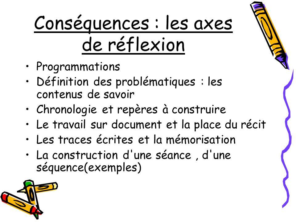 Conséquences : les axes de réflexion Programmations Définition des problématiques : les contenus de savoir Chronologie et repères à construire Le trav