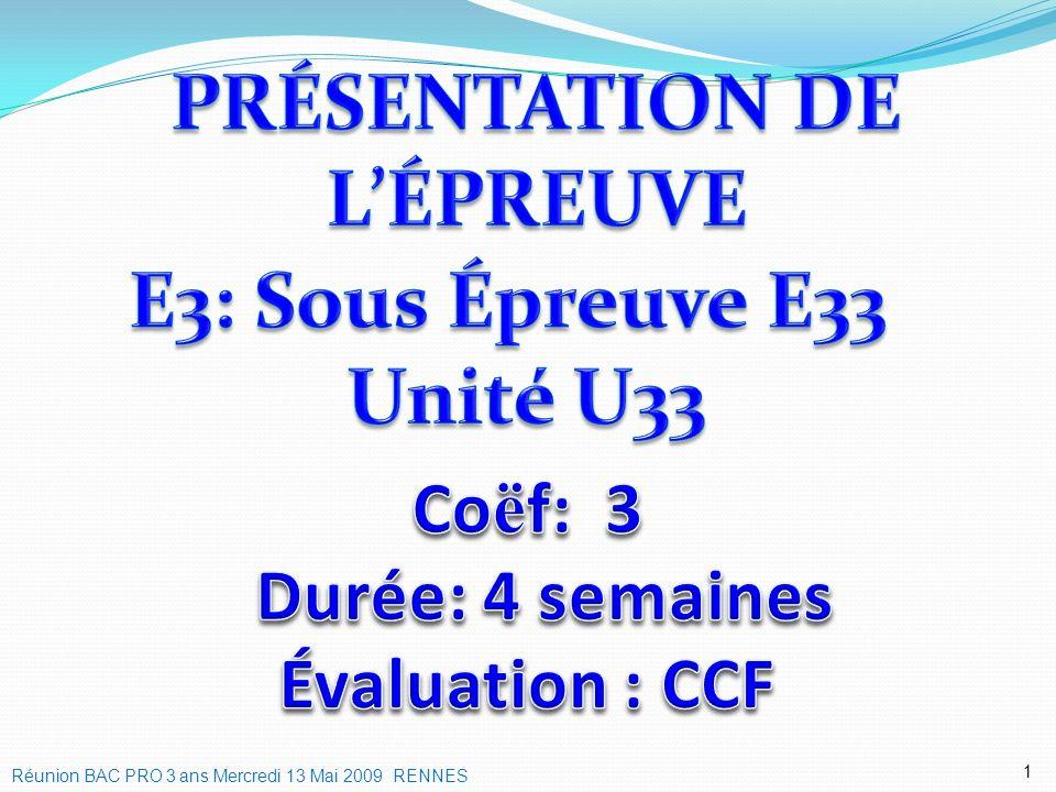 1 Réunion BAC PRO 3 ans Mercredi 13 Mai 2009 RENNES