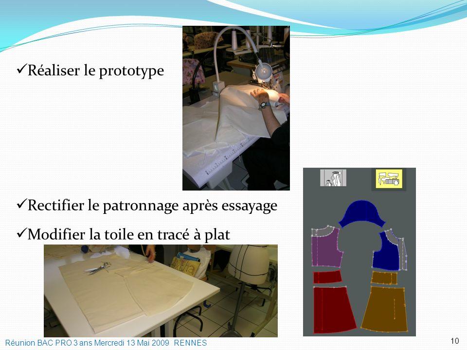 Modifier la toile en tracé à plat Rectifier le patronnage après essayage 10 Réaliser le prototype Réunion BAC PRO 3 ans Mercredi 13 Mai 2009 RENNES